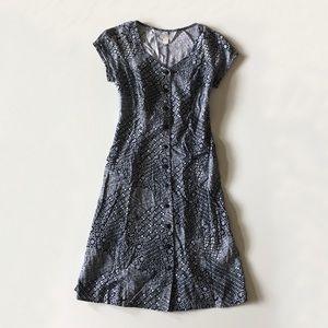 Vintage 90s Blue Print Linen Button Down Dress 10